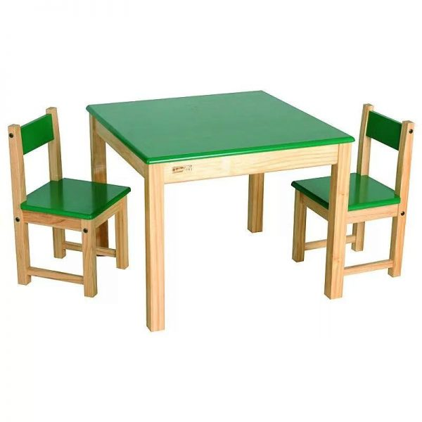 Pine Wood Child Study Sets Kid Table, Wooden Lego Table With Chairs