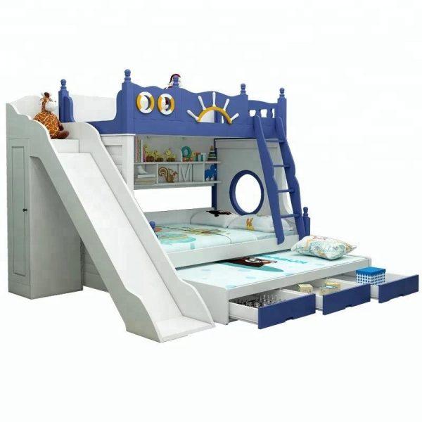 Vivan Interio Bunk Bed With Slide Kids Bedroom Furniture Blue Vivaninterio